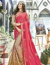 image of Function Wear Georgette Cream Embroidered Designer Saree