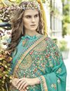 photo of Function Wear Georgette Embroidered Cyan Fancy Saree