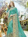 image of Function Wear Georgette Embroidered Cyan Fancy Saree