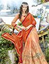photo of Function Wear Georgette Orange Embroidered Designer Saree