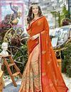 image of Function Wear Georgette Orange Embroidered Designer Saree