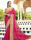 image of Party Wear Embroidered Rani Color Georgette Saree With Lace Border