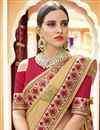 photo of Red Fancy Party Wear Embroidered Saree In Georgette With Lace Border