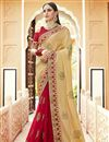 image of Red Fancy Party Wear Embroidered Saree In Georgette With Lace Border