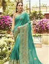 image of Party Style Fancy Embroidered Saree In Cyan Art Silk With Lace Border