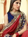 photo of Party Style Embroidered Designer Art Silk Red Color Saree With Lace Border