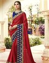 image of Party Style Embroidered Designer Art Silk Red Color Saree With Lace Border