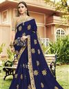 image of Embroidered Navy Blue Designer Party Wear Saree In Georgette With Lace Border
