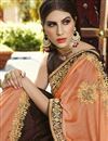 photo of Embroidered Georgette Party Style Saree In Brown With Lace Border