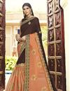 image of Embroidered Georgette Party Style Saree In Brown With Lace Border