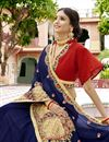 photo of Party Wear Embroidered Georgette Fabric Navy Blue Saree With Lace Border
