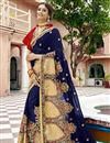 image of Party Wear Embroidered Georgette Fabric Navy Blue Saree With Lace Border