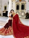photo of Embroidered Maroon Party Style Saree In Georgette Fabric With Lace Border