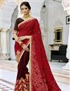 image of Embroidered Maroon Party Style Saree In Georgette Fabric With Lace Border