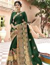 image of Georgette Fabric Fancy Party Wear Embroidered Saree In Dark Green With Lace Border