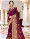 image of Party Style Fancy Embroidered Saree In Georgette Fabric Burgundy Color With Lace Border