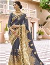 image of Party Style Embroidered Designer Grey Georgette Fabric Saree With Lace Border