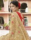 photo of Georgette Fabric Party Wear Embroidered Cream Saree With Lace Border