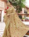 image of Georgette Fabric Party Wear Embroidered Cream Saree With Lace Border