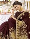 photo of Embroidered Georgette Fabric Designer Party Wear Saree In Brown With Lace Border