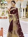 image of Embroidered Georgette Fabric Designer Party Wear Saree In Brown With Lace Border