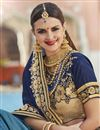 photo of Navy Blue Fancy Wedding Wear Georgette And Net Fabric Saree With Embroidery
