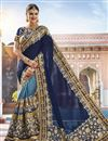 image of Function Wear Georgette And Net Fabric Navy Blue Embroidered Saree