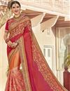 image of Orange Fancy Wedding Wear Art Silk And Net Fabric Saree With Embroidery