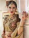 photo of Brown Wedding Wear Art Silk And Georgette Saree With Embroidery Work