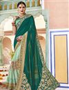 image of Function Wear Art Silk And Net Fabric Teal Color Embroidered Designer Saree