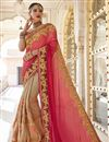 image of Function Wear Art Silk And Georgette Embroidered Cream Fancy Saree