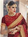 photo of Maroon Sangeet Function Wear Fancy Georgette And Net Fabric Saree With Embroidery