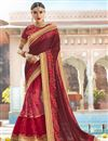 image of Maroon Sangeet Function Wear Fancy Georgette And Net Fabric Saree With Embroidery