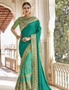 image of Wedding Wear Georgette And Net Fabric Cyan Saree With Embroidery Work