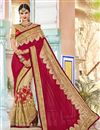 image of Wedding Wear Georgette And Net Fabric Beige Color Saree With Embroidery Work