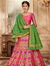 image of Pink Banarasi Silk Reception Wear Lehenga Choli With Embroidery Work