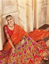 image of Banarasi Silk Orange Wedding Wear 3 Piece Lehenga Choli With Embroidery Work