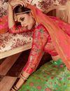 photo of Embroidery Work On Wedding Wear Bridal Lehenga In Sea Green Banarasi Silk With Blouse