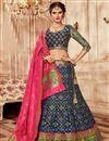 image of Embroidered Navy Blue Bridal Lehenga In Banarasi Silk Fabric with Designer Choli