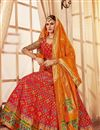 image of Embroidered Red Designer 3 Piece Lehenga In Banarasi Silk Fabric