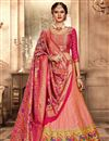 image of Pink Banarasi Silk Reception Wear Lehenga Choli With Embroidery Work