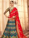 image of Embroidery Work On Banarasi Silk Designer Lehenga In Blue With Blouse