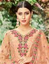 photo of Designer Peach Fancy Fabric Salwar Suit With Embroidery Work
