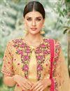 photo of Fancy Fabric Embroidered Designer Salwar Kameez In Beige