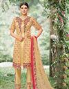image of Fancy Fabric Embroidered Designer Salwar Kameez In Beige