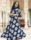 image of Navy Blue Designer Party Wear Printed Kurti In Rayon Fabric