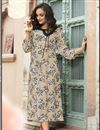 image of Rayon Fabric Office Wear Printed Kurti In Chikoo