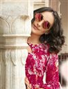 photo of Printed Work On Dark Pink Rayon Fabric Party Wear Kurti