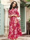 image of Printed Work On Dark Pink Rayon Fabric Party Wear Kurti