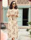 image of Cream Rayon Fabric Fancy Printed Party Wear Kurti